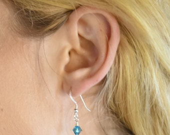 Dangle Earrings, Blue Swarovski Crystal and Sterling Silver, 2 3/4""