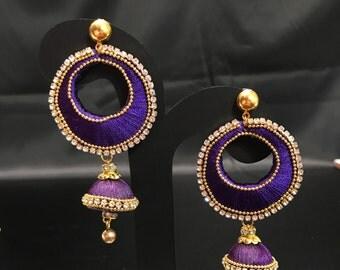 Purple Silk Thread Earrings - Silk Thread Jewelry - Indian Jewelry - Indian Earrings - South Indian Earrings - Indian Bridal - Kundan Desi -