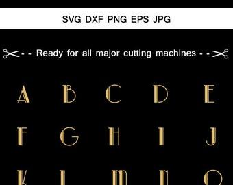 Art Deco Monogram alphabet font Svg, Monogram Letters, Monogram alphabets, Cut Files For Silhouette,Cricut, Fancy monogram, Elegant letters.