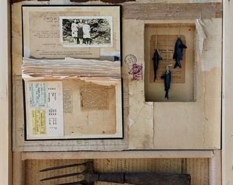Last Summer - Original art collage assemblage vintage paper, ephemera and found objects