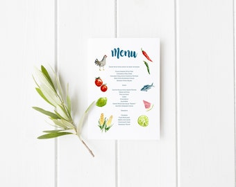 Custom Watercolor Menu Design for Weddings, Events, Stationery