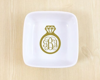 Personalized Jewelry Dish - Monogrammed Gift - Engagement Gift- Gift for Bride - Wedding Gift - Bridal Shower Gift - Monogrammed Ring Dish