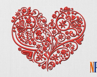 Patterned heart machine embroidery design. Valentine's day embroidery. Heart. Embroidery file