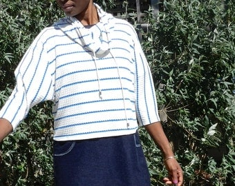 Drawstring Cowl Neck, Short Sleeve Sweatshirt, white with blue stripe, pull over, Women Sweater,