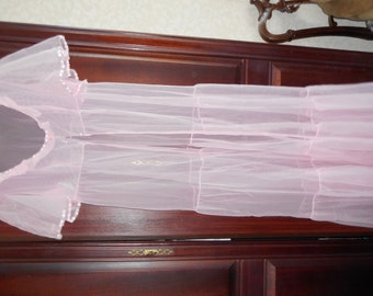 Lovely 1960's  see through Pink  Peignoir robe