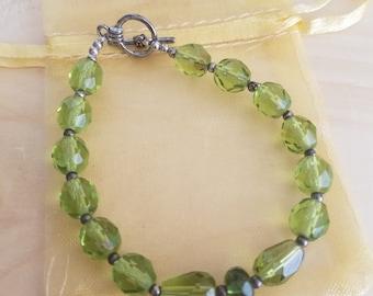Green Glass Bead Bracelet- Lady Luck Bracelet