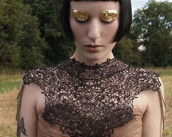 Steampunk Victorian black lace collar. Statement necklace of black lace & chain epaulettes. 'Body Tattoo' Burning Man