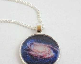 Space Galaxy Resin Pendant Necklace