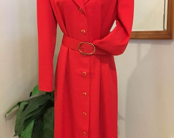 David Hayes classic red coat dress