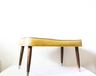Vintage Mid Century Ottoman | Yellow Foot Stool | Mustard Vinyl Ottoman | Foot Stool | Wooden Tapered Legs | Mid Century Furniture
