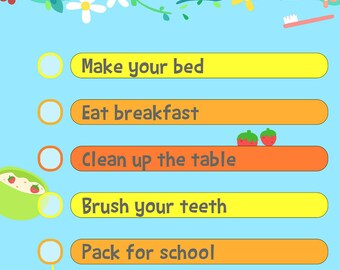 Editable chore chart - customizable to do list printable morning children's daily reminders