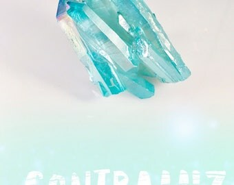 Sparkly Blue Healing Aura Quartz Crystal Cluster