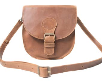 Leather crossbody, brown leather bag, handmade leather bag, womens leather bag, minimalist bag, small crossbody bag, women bag, light brown