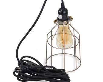 pendant lighting by rustic state authentic vintage lights includes 15 feet plugin fabric