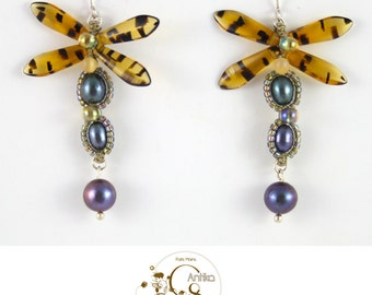 Tortoise dragonfly earrings, freshwater pealrs, art new/earrings dragonflies tortoises, pearls of freshwater, art nouveau
