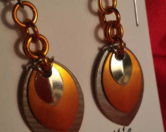Sand/Harvest/Silver 3 Graduated Scale Earrings