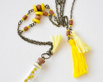 Terrarium spring bright necklace Tassel Boho jewelry Yellow flower necklace Glass jar necklace Rustic Wood Resin Botanic Dried plant Mimosa