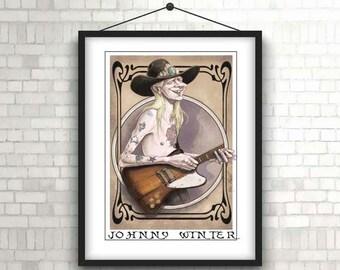 Johnny Winter Illustration / Rock music poster