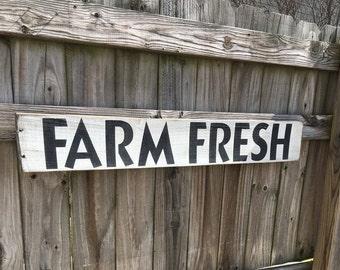 "Farm Fresh Sign  40"" x 5.5"", farmhouse, farmhouse sign, rustic farm sign, vintage, Market, kitchen sign"
