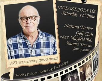 Movie Reel 80th birthday invitation, RETRO Photo Birthday Invitation, 70th Birthday, 60th Birthday invitation, 50th Male birthday