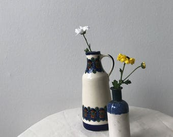 Hez Berlin – Vintage Ceramic Cute Lovely Blue Cream Flower Pattern Vase Set Home Decor