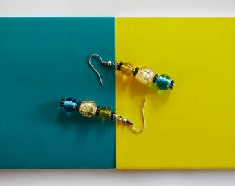 Colourblock: Earrings in yellow and blue