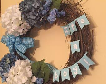 Baby Boy Wreath, Baby Wreath, Front Door Wreath, Hospital Door Wreath, Nursery Wreath, Baby Shower Gift