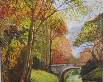 Painting Canal bridge Original watercolour landscape