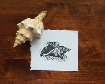 Conch Seashell Linocut Print