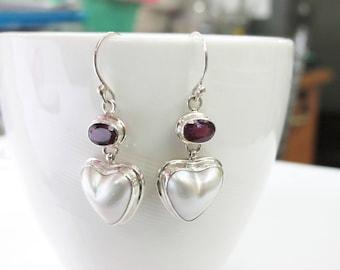 mabe pearl earring, heart shape pearl earring, gems stone earring, 925 sterling silver earring, valentine's day