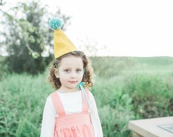 Felt Party Hat / Pom Pom Hat / Birthday Party Cone Hat / Cake Smash / First Birthday Party / Mustard & Mint
