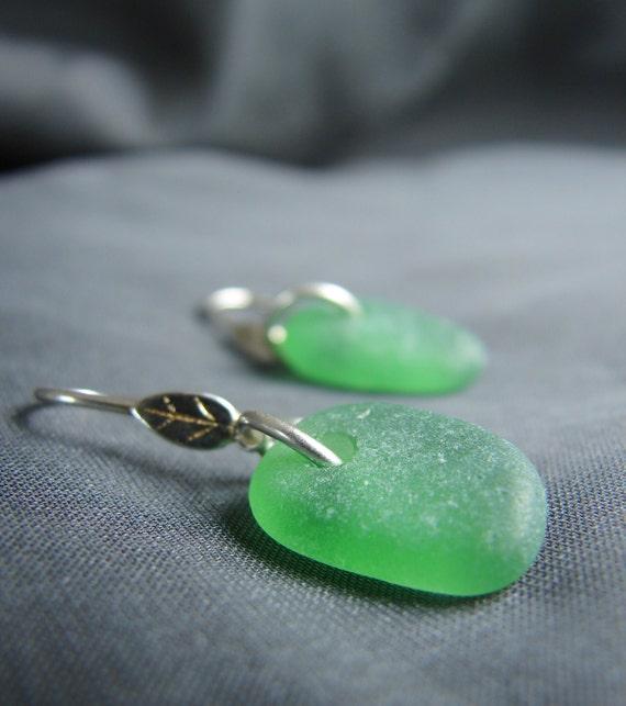 Little Leaf sea glass earrings in true green
