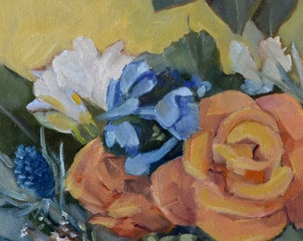 An Oil Painting of Milva Roses with Other Flowers