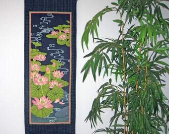 Quilted Wall Hanging Lotus Pond Japanese Asian Design Tenugui Scroll Size