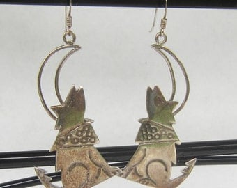 Native American - Southwestern Sterling Silver Howling Coyote Wolf and Moon Dangle Drop Earrings    0103