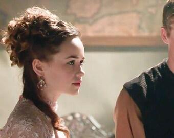 "As Seen on Reign | Rose Gold Pearl Bridal Earrings | Handmade Lace Floral Hoop Earrings | Woodland Spring Wedding ""Anthea"""