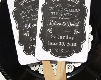 Rustic Wedding Fan - Chalkboard Wedding Fans - Hand Fans Personalized - Fans Assembled - Fans Chalkboard Wedding  - Wedding Favor Fans