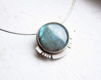 SOL Labradorite and Sterling Silver Pendant on Omega Chain