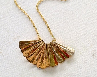 Ra Necklace - golden fan necklace, handmade gold petal necklace, multi gold bar pendant necklace, gold fan statement necklace