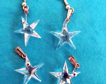 4 Crystal Star Charms Beads with loops