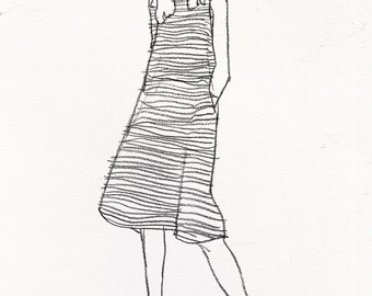 "Striped Dress Original Sketch - 13"" x 17"""