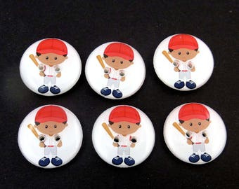 """6 Baseball Buttons.  3/4"""" or 20 mm African American Boy  Baseball Player Sewing Buttons. Handmade by Me.  Washer and Dryer Safe."""