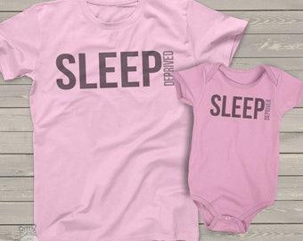 matching mom and baby sleep deprived shirt set - sleep depriver mom and baby MDF1-021