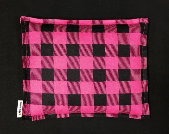Flannel Corn Heating Pad 9 x 11, Corn Bag, Microwavable Heat Pack, Hot Cold Therapy Pillow, Relaxation Gift, Heated Bags, Black Pink Check