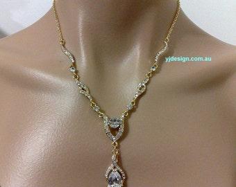 Gold Bridal Necklace, Teardrop Wedding Necklace, Infinity Necklace, Swarovski Crystal Bridal Jewelry, Cz Drop Wedding Jewelry, JETAIME