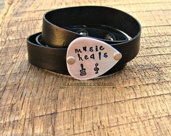 Music Heals Guitar Pick Leather Wrap Bracelet rocker girl chic festival ready style concert fashion black brown grey silver treble clef