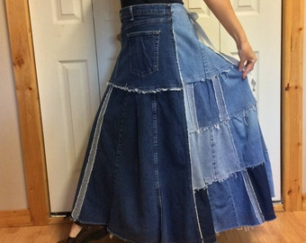 Long Denim Maxi Skirt/Blue Jean Skirt/Patchwork Denim/Stretch Denim/Recycled Jeans/Upcycled Denim/Repurposed/Womens Size Large Tall