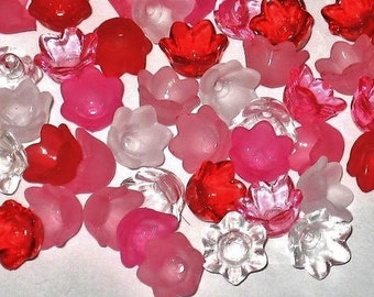 Acrylic Flower Beads -60 Mixed Tulip Bell Flowers Valentine - 10mm