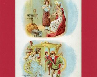 c1900 Cinerella and Fairy Godmother Antique Book Illustrtion