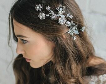 Wedding Hair Accessories ,Bridal Hair Flower, 3D Floral Hair Comb , Bridal Hair Piece ,Swarovski Hair Comb, Wedding Headpiece , Antique Comb